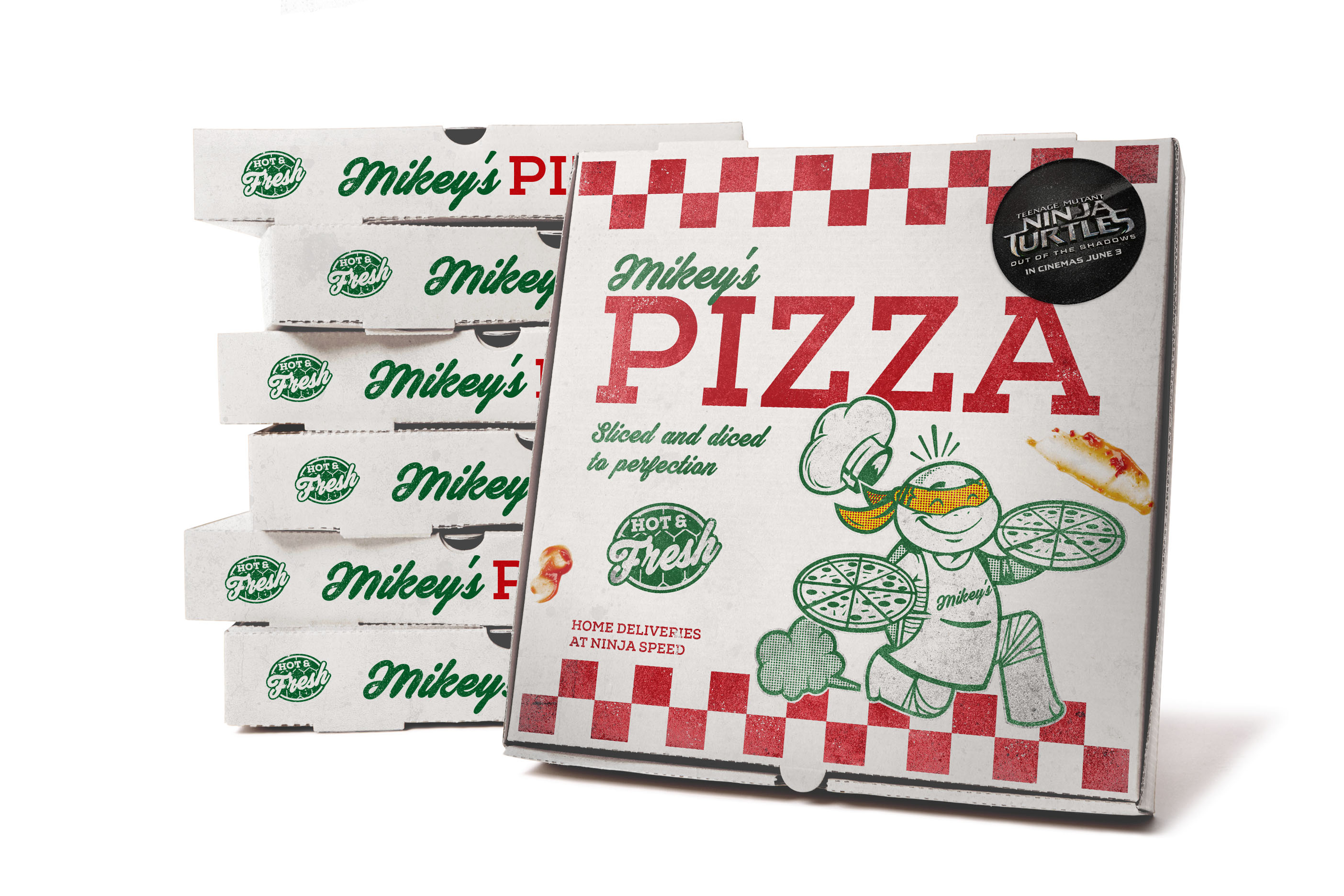TMNT Pizza box by UK-based designer and illustrator Dan Bailey, who works under the alias of Rubber Penguin.